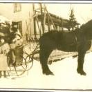"""Voici un autre modèle de """"sleigh"""" utilisée par la famille Fortin. Alice, Rosette et Antoinette Fortin sont à l'avant-plan."""