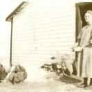 Voici une dame âgée qui nourrit ses volailles, poules et dindes près de sa demeure.