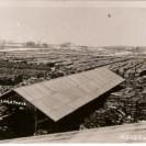 Nous apercevons la cour à bois de la G.I. La Treys où 12 000 cordes de bois y sont alignées sur de nombreuses rangées. C'était dans les années 1910 à 1920.